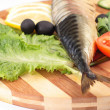 Sliced herring with vegetables — Stock Photo