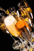 Champagne pour in a glass — Stock Photo