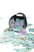 Inverted basket of money — Stock Photo