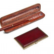 Mahogany ball pen in an opened wooden case — Stock Photo #5180521