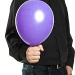 Man holding baloonn isolated — Stock Photo