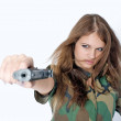 Stock Photo: Sexy girl with gun