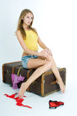Girl with suitcase — Stock Photo