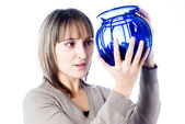 Young woman with vase — Stock Photo