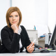 Businesswoman with computer — Stock Photo