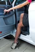 Pretty woman in car — Stock Photo