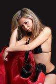 Resting boxing girl — Stock Photo