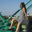 Girl on crane - Foto de Stock