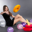 Young woman with pyramid toy — Stock Photo #4133272