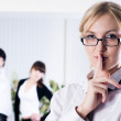 "Stock Photo: Womwith sign ""keep silence"""