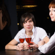 Dating in cafe with red wine — 图库照片