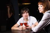 Dating café mit rotwein — Stockfoto