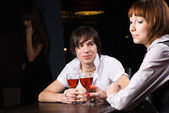 Dating in cafe with red wine — Stock Photo