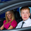 Young couple in car — Stock Photo #4166371