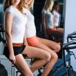 Girl in fitness center — Stock Photo