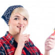 Young woman with paintbrush — Stock Photo #4181946