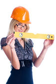 Girl with level — Stock Photo