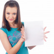 Stock Photo: Girl wth blank sheet