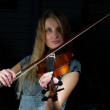 Woman and violin — Stock Photo