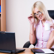 Business woman with laptop — Stock Photo #4250516
