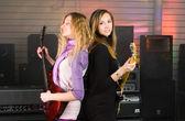 Woman on rock concert — Stock Photo
