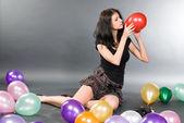 气球的女人 — 图库照片