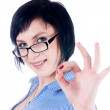Woman showing okay gesture — Stock Photo