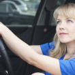 Stock Photo: Young woman in a car