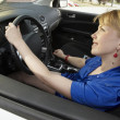Driving lady with smile — Stock Photo #4325369