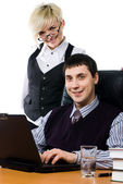 Business team with laptop — Stock Photo