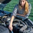 Young Blond Woman With Her Broken Car — Stock Photo #4330168