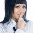 Woman gesturing to silence — Stock Photo