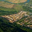A view of a town or village seen from above — Stock Photo