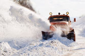 Snowplow at work — Stockfoto
