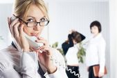 Calling woman — Stock Photo