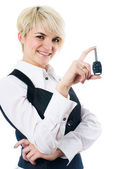 Woman with car key — Stock Photo
