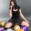 Woman with balloons — Stock Photo #4510705