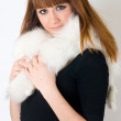 Girl wearing white fur — Stock Photo