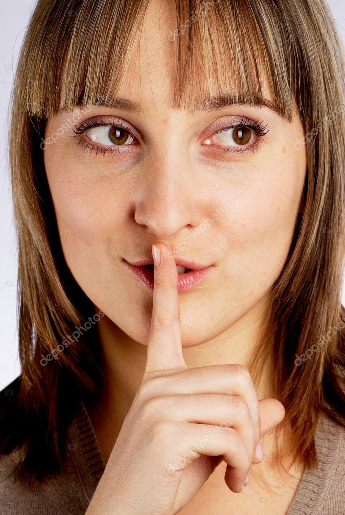 Young pretty woman showing gesture keep silence — Stock Photo #4548525