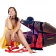 Stock Photo: Girl with suitcase