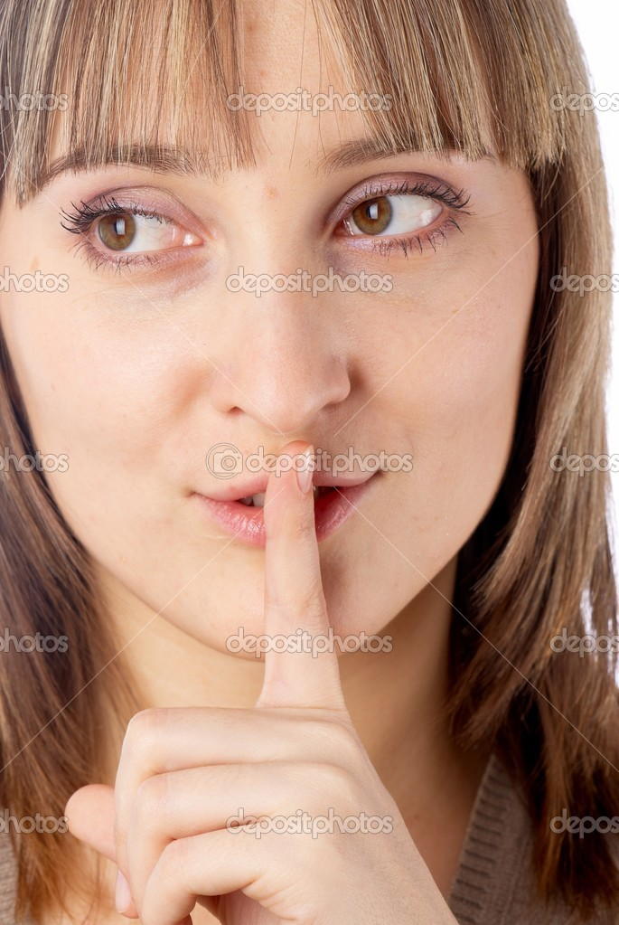 Young pretty woman showing gesture keep silence — Stock Photo #4566900