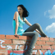 Young woman on roof — Stock Photo #4576719