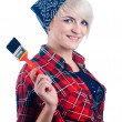 Young woman with paintbrush — Stock Photo #4656758