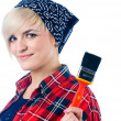 Stock Photo: Young woman with paintbrush