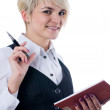 Businesswoman with notebook — Stockfoto