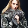Attractive woman in fur coat — Stock fotografie