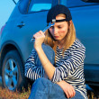 Young Blond Woman With Her Broken Car — Stock Photo #4863325