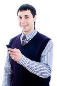 Muž mluví do mobilu — Stock fotografie