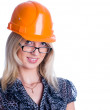 Smiling girl with helmet — Stockfoto