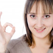 Woman showing okay gesture — Stock Photo #4971101
